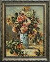 【送料無料】複製名画油絵 ルノワール作「デルフト焼きの花瓶のバラとジャスミン」額付き 絵画サイズ: 30x40 cm