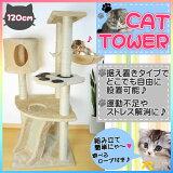 【送料無料!】キャットタワー 120cm ねこタワー 猫タワー 爪とぎ 据え置き 省スペース ベージュ 子猫 小さめ 肉球 スリム ロータイプ 人気商品 激安 おしゃれ おすすめ シンプル【あす楽対応】