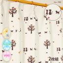 カーテン 猫 100×200 アイボリー 形状記憶 子供部屋...