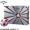 キャロウェイ CHROME SOFT X TRUVIS クロム ソフトX トゥルービス ホワイト レッド ゴルフボール 1� ース 12球入り  [2018年モデル] 特価     [有賀園ゴルフ]