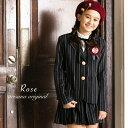 女の子 卒業式スーツ ロゼ ジャケット+キュロット+ワッペン...