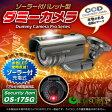 防犯ダミーカメラ フェイクカメラ 暗視型ソーラーバッテリー付バレット型ダミーカメラ 軒下防雨型 赤色LED常時点滅「OS-175G」ガンメタ