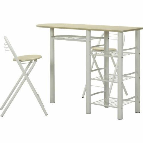 【送料無料】【便利な収納棚付き。椅子は折りたたみ...の商品画像
