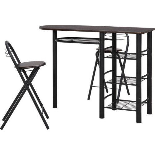 【送料無料】【便利な収納棚付き。椅子は折りたた...の紹介画像2