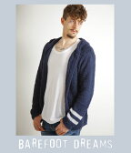 BAREFOOT DREAMS(ベアフット ドリームス) / 【男性サイズ】mens zip hoodie with stripe( メンズ フーディ パーカー ストライプ)C594navy【PIE】【BJB】