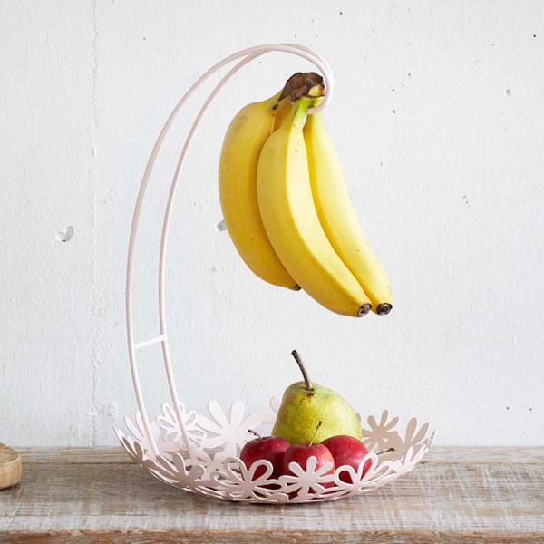 バナナ 吊り下げ バナナスタンド スタンド バナナフック バナナ置き フック 引っ掛け 便利グッズ 果物 かご かわいい おしゃれ キッチン雑貨 キッチン フルーツバスケット 収納 オシャレ バナナスタンド&フラワーバスケット ホワイト/ピンク