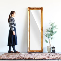 姿見鏡ミラーアンティーク調大型白インテリアミラー全身鏡全身ミラースタンドミラー木製幅60cm姿見大型ミラー幅60cm高さ180cm180ゴールドホワイトロココ調ワイドミラー激安美容院レトロarneアーネインテリア送料無料