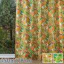 カーテン ムーミン 北欧 柄 かわいい 子供部屋 既成カーテン 150×178 植物園 ベージュ/グリーン 2枚入り