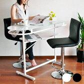 カウンターテーブル バーカウンターテーブル 収納 カフェ風 バーテーブル ガラス ハイカウンター テーブル バー 黒 おしゃれ ホワイト 棚付き 白 ブラック ハイテーブル PHW-1145 送料無料