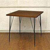 Dining Table ダイニングテーブル カフェ風 カフェ 食卓テーブル テーブル 木製 アイアン 2人用 机 75 小さい おしゃれ 木 正方形 アンティーク コンパクト カフェ風 テーブル アンティーク調 ブラウン 75cm幅 無垢 北欧 二人用 オーク 突板 レトロ 75cm 送料無料