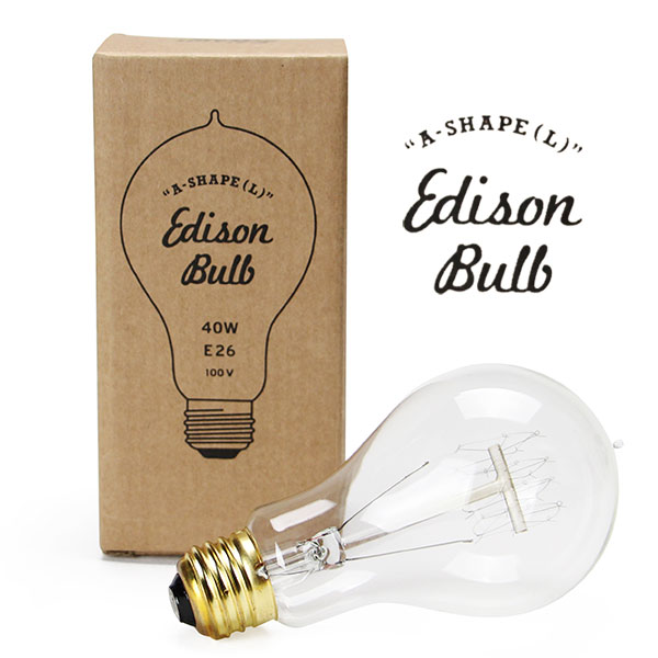 白熱球 40W エジソンバルブ エジソン電球 カーボン電球 電球色 白熱電球 40 電球 おしゃれ 裸電球 大正 明治 天井照明 かわいい 大正ロマン 口金 部品 レトロ モダン ミッドセンチュリー 階段 トイレ 廊下 Edison Bulb A-shape L