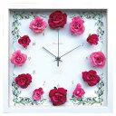 壁掛け時計 掛け時計 かわいい 四角 時計 壁かけ時計 壁掛け ウォールクロック おしゃれ アンティーク レトロ アナログ アナログ時計 アートクロック アート クロック 北欧 ウォールディスプレイ 造花 薔薇 ローズ CRC51695 Flower Clock Rose Wine Pink ギフト プレゼント