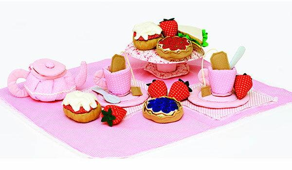 ままごと ままごとセット ティーセット お店屋さんごっこ おもちゃ 食器 知育玩具 おままごと ごっこ遊び ベビー 布 かわいい キッズ 子ども おしゃれ 女の子 お祝い ピンク OE2101 イングリッシュアフタヌーンティーセット プレゼント ギフト 出産祝い お祝い 誕生日