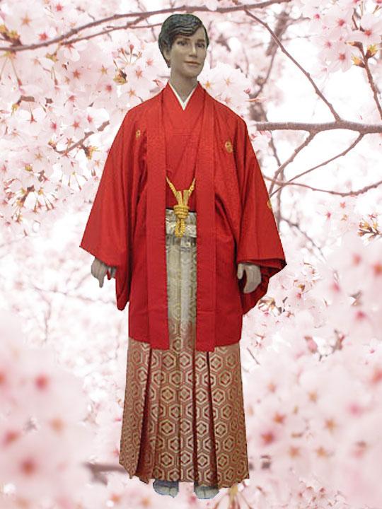No.2497-No.356 Lilianne 赤羽織 青龍刺繍 オレンジ袴 卒業式 成人式 男性用 紋服セット レンタル!