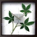 壁掛け時計 掛け時計 ウォールクロック アートフラワークロック 電波時計ではありません おしゃれ シンプル 北欧 木製 かわいい 造花 デザイナーズ アンティーク モダンリーフクロック パキラ グラブラ