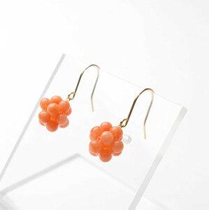 可愛い♪ピンク珊瑚K18アメリカンピアス【 3月 誕生石