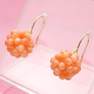 ピンク珊瑚編み・編みK18アメリカンピアス【 3月 誕生