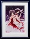 【版画】【中古】 二人の巫女 ミックスドメディア 本人 鉛筆 サイン 七瀬葵(Aoi Nanase)