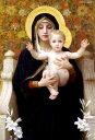 複製画 送料無料 プレミアム 学割 絵画 油彩画 油絵 複製画 模写ウィリアム・ブグロー「百合の聖母マリア」 F8(45.5×38.0cm) サイズ プレゼント ギフト 贈り物 名画 オーダーメイド 額付き