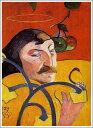 複製画 送料無料 プレミアム 学割 絵画 油彩画 油絵 複製画 模写ポール・ゴーギャン「戯画的自画像」 F12(60.6×50.0cm)サイズ プレゼント ギフト 贈り物 名画 オーダーメイド 額付き