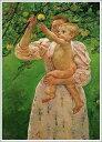 【送料無料】絵画:メアリー・カサット「林檎に手を伸ばす赤ん坊」●サイズF10(53.0×45.5cm)●プレゼント・ギフト・風水にも人気な名画の絵画(油絵複製画)オーダーメイド制作◆無料で選べる額縁付き!◆:油彩画