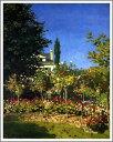 複製画 送料無料 プレミアム 学割 絵画 油彩画 油絵 複製画 模写 クロード・モネ「サンタドレスの花咲く庭」 F6(41.0×31.8cm)サイズ プレゼント ギフト 贈り物 名画 オーダーメイド 額付き