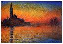複製画 送料無料 プレミアム 学割 絵画 油彩画 油絵 複製画 模写クロード・モネ「黄昏、ヴェネツィア」 F10(53.0×45.5cm)サイズ プレゼント ギフト 贈り物 名画 オーダーメイド 額付き