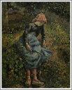 【送料無料】絵画:カミーユ・ピサロ「小枝を持つ少女」●サイズF12(60.6×50.0cm)●プレゼン