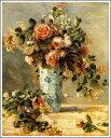 複製画 送料無料 プレミアム 学割 絵画 油彩画 油絵 複製画 模写 ルノアール(ルノワール)「花瓶にはいったバラとジャスミン」 F6(41.0×31.8cm) サイズ プレゼント ギフト 贈り物 名画 オーダーメイド 額付き