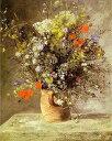 複製画 送料無料 プレミアム 学割 絵画 油彩画 油絵 複製画 模写ルノアール(ルノワール)「花瓶の花」 F15(65.2×53.0cm)サイズ プレゼント ギフト 贈り物 名画 オーダーメイド 額付き