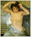 複製画 送料無料 プレミアム 学割 絵画 油彩画 油絵 複製画 模写ルノアール(ルノワール)「女の半身像」 F8(45.5×38.0cm) サイズ プレゼント ギフト 贈り物 名画 オーダーメイド 額付き
