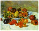 複製画 送料無料 プレミアム 学割 絵画 油彩画 油絵 複製画 模写ルノアール(ルノワール)「南仏の果物」 F12(60.6×50.0cm)サイズ プレゼント ギフト 贈り物 名画 オーダーメイド 額付き