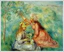複製画 送料無料 プレミアム 学割 絵画 油彩画 油絵 複製画 模写 ルノアール(ルノワール)「草原で花を摘む少女たち」 F6(41.0×31.8cm)サイズ プレゼント ギフト 贈り物 名画 オーダーメイド 額付き