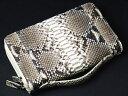 【バッグと財布の中間的存在】【一味違うスリムタイプ】本革パイソン(ヘビ革)・ダブルファスナー・セカンドバッグ・ナテュラル02P03Dec16