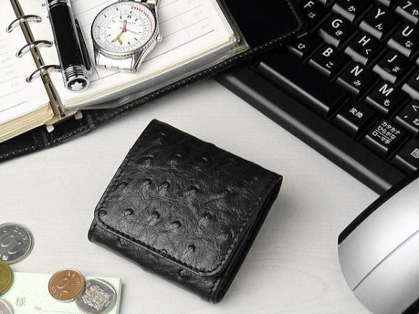 【すでにベストプライス】きちんとポイント入り 本革 オーストリッチ 小銭入れ・コインケース ブラック(黒)