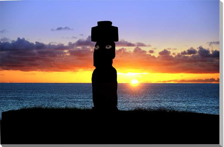 世界遺産イースター島 夕日と目のあるモアイ 写真パネル 53×33.3cm MOAI-33-M10 ギフト 贈り物 壁飾り 壁掛け インテリア アート タペストリー 風景ポスター 新築祝い 出産祝い 結婚祝い プレゼント