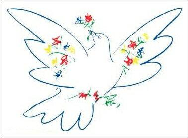 【アートポスター】花と鳩(30×40cm) -ピカソ-