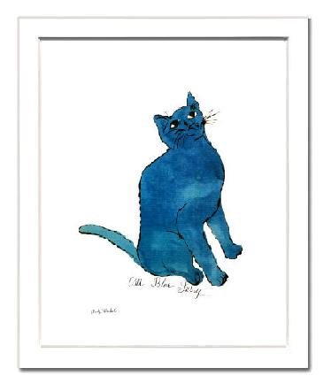 【アンディ・ウォーホル額付ポスター】青い猫1954年(320×390×15mm)