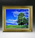 空と木と雲  F8サイズ 【油絵 直筆仕上げ絵画】【額縁付】 油彩 風景画 オリジナルインテリア絵画 風水画 598×524mm 送料無料