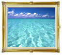 blue on blue  F15サイズ 【油絵 直筆仕上げ絵画】【額縁付】 油彩 風景画 オリジナルインテリア絵画 風水画 インテリアアート絵画 15号 781×660mm 送料無料