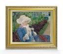 メアリー・カサット Lydia Crocheting in the Garden at Marly F6  【油絵 直筆仕上げ 複製画】【額縁付】 絵画 販売  6号 油彩 人物画 554×463mm 送料無料