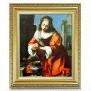 フェルメール Saint Praxidis F8 【油絵 直筆仕上げ 複製画】【額縁付】 絵画 販売 8号 油彩 人物画 598×524mm 送料無料