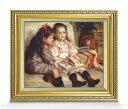 ルノワール ふたりの子供の肖像 F8 【油絵 直筆仕上げ 複製画】【額縁付】 絵画 販売 8号 油彩 人物画 598×524mm 送料無料