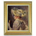 ルノワール 白い帽子の女 F8 【油絵 直筆仕上げ 複製画】【額縁付】 絵画 販売 8号 油彩 人物画 598×524mm 送料無料