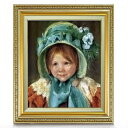 メアリー・カサット Sara In Green Bonnet Shower Curtain F8 【油絵 直筆仕上げ 複製画】【額縁付】 絵画 販売 8号 油彩 人物画 598×524mm 送料無料