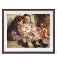 ルノワール ふたりの子供の肖像 アートフレーム サイズL:ブラウン 【油絵 直筆仕上げ 複製画】【油彩 布キャンバス 国内生産】 絵画 販売 人物画 651×541mm 送料無料 (ルノアール)