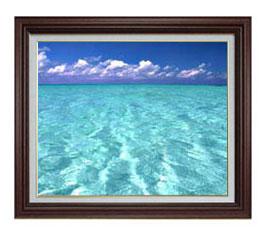 blue on blue F12サイズ 【油絵 直筆仕上げ】【額縁付】 油彩 風景画 オリジナルインテリア絵画 風水画 ブラウン額縁 757×656mm 送料無料