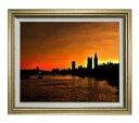 ある街の夕暮れ F12サイズ 【油絵 直筆仕上げ】【額縁付】 油彩 風景画 オリジナルインテリア絵画 風水画 ゴールド額縁 757×656mm 送料無料
