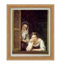 ムリーリョ Two Women at a Window F15 【油絵 直筆仕上げ 複製画】【油彩 国内生産 インテリア】絵画 販売 15号 人物画 ゴールド額縁 812×690mm 送料無料