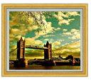 ロンドン橋を眺む F20サイズ 【油絵 直筆仕上げ】【額縁付】 油彩 風景画 オリジナルインテリア絵画 風水画 ゴールド額縁他各種 887×766mm 送料無料